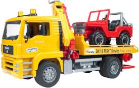 Bruder 02750 MAN TGA Abschlepp-LKW mit Geländewagen, ab 3 Jahren, Maße: 49,5 x 18,5 x 25,5 cm
