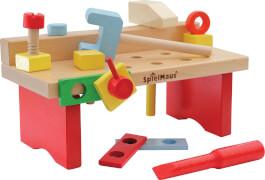 SpielMaus Holz Werkbank, 15-teilig
